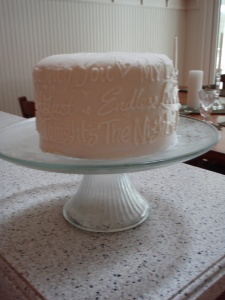 Enjoying our cake topper!