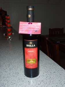 Enjoying a bottle of wine from our wine favors at the wedding!