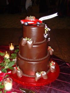 Groom's cake with a corvette topper!