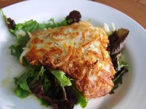 Potato crusted salmon with herb salad loves to eat for Potato crusted fish