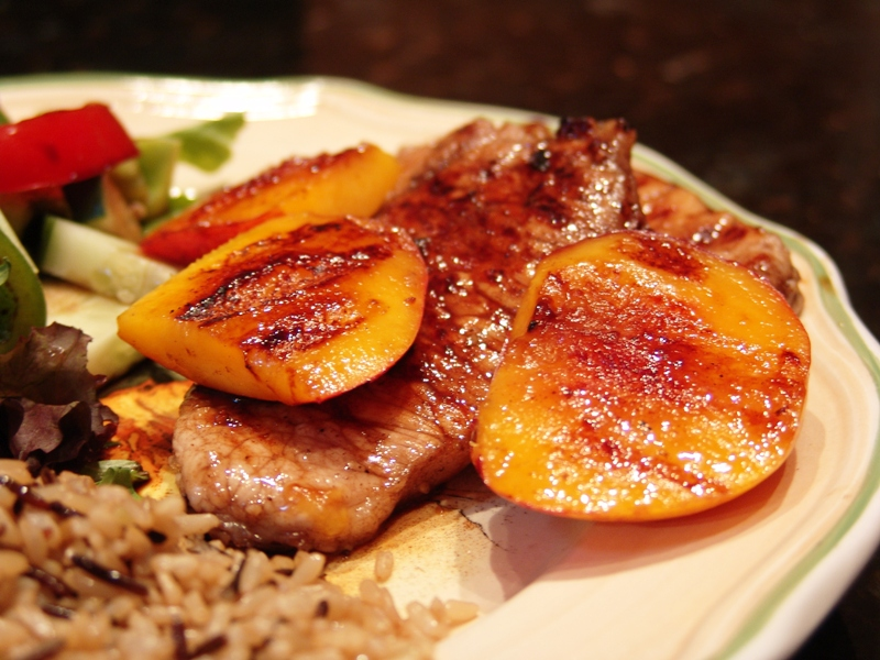 Clean eating grilled balsamic glazed pork chops and grilled nectarines ...